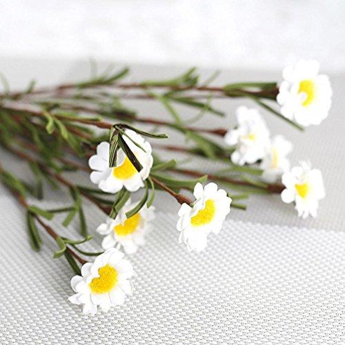 - Gotd 8 Heads Artificial Silk Fake Flowers Leaf Daisy Wedding Floral Decor Bouquet (White)