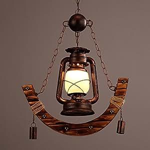 MGCHD Loft Wooden Iron Restaurant Cafe Living Room Bedroom Shank Type Chandelier Size: 45 80cm A+
