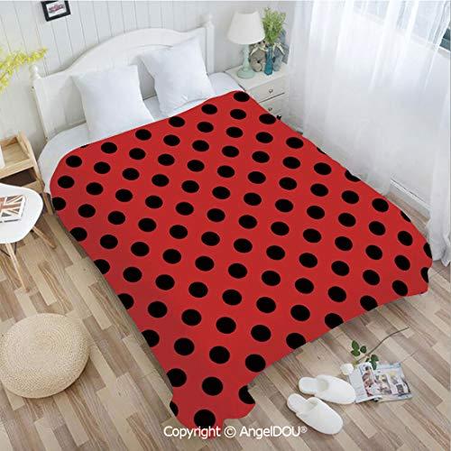 AngelDOU Printed Super Soft Warm Bed Throw Blanket W31 xL47 Retro Vintage Pop Art Theme Old 60s 50s Rocker Inspired Bold Polka Dots Image for Women Men Girls Kids Pet.