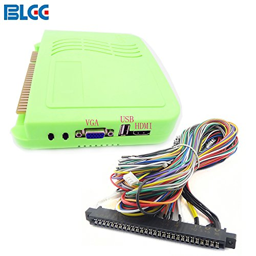 BLEE Arcade Video Games Kit with VGA & HDMI Output Arcade Games Board 999 in 1 Multi Game PCB with 28Pin Jamma Harness