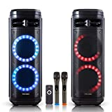 """Dual 10"""" Blue-Tooth (Wireless) Portable Peak To 1000W Rechargeable PA System/Speaker with KARAOKE Function, LED Party Light, Wireless Microphone, Remote Control, And Wheels (Dual 10"""" Woofer with 2 Wireless Mic)"""
