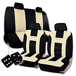 Zone Tech Classic Black and Beige Racing Style Universal Fit Car Seat Cover and Pair of Black Plush Hanging Fuzzy - Universal Fit Premium Quality Luxury Interior Décor Pu Set