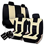 zone tech leather seat cover - Zone Tech Classic Black and Beige Racing Style Universal Fit Car Seat Cover and Pair of Black Plush Hanging Fuzzy - Universal Fit Premium Quality Luxury Interior Décor Pu Set