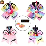 4 pack Unicorn Cheer Hair Bows with Elastic Band Hair Tie Rainbow Pony Holder Grosgrain Hair Clips pack for Teen Girls Party Cheerleader Sports Elastic Rubber Bands For Free