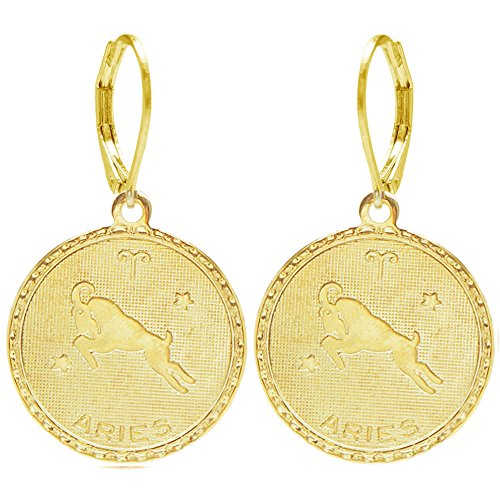 100% Nickel Free Mystical Sun Sign Horoscope Zodiac Coin Earrings, Aries Gold Tone in Gold Tone