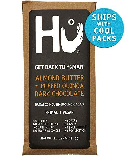 Hu Chocolate Bars   4 Pack Almond Butter Puffed Quinoa   Natural Organic Vegan, Gluten Free, Paleo, Non GMO, Fair Trade Dark Chocolate   2.1oz Each (Custom Chocolate Bar)