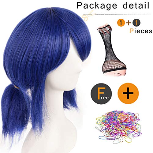SiYi Ladybug Wig for 8+ Kids Short Blue Curly Synthetic Halloween Cosplay Wig with Pigtails and -