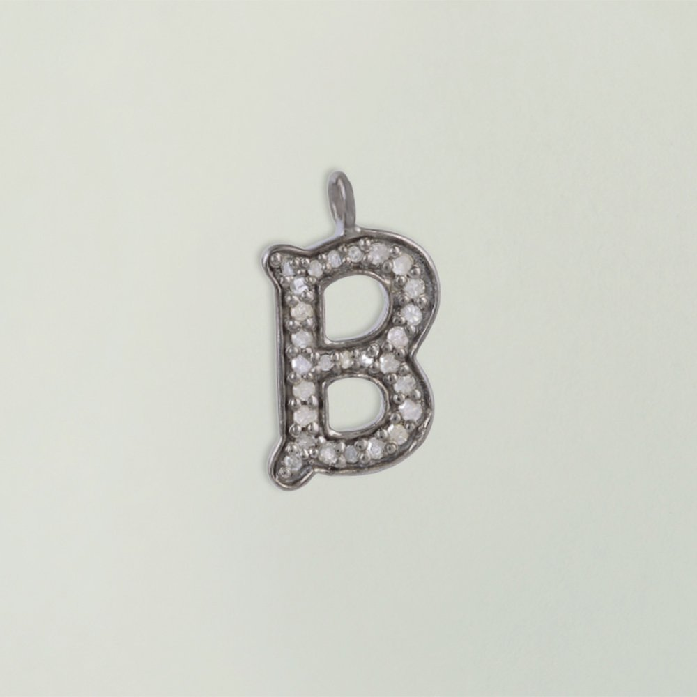 925 Sterling Silver Alphabet Charm Pendant Jewelry supplier