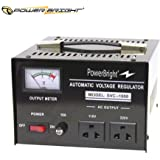 PowerBright 1000 Watt Automatic Voltage Regulator and Step Up & Down Voltage Transformer - Converts 110/120 Volt to 220/240 Volt or 220/240 Volt to 110/220 Volt.