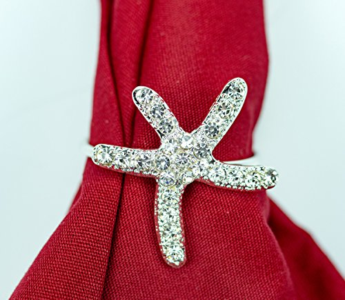 Yacanna Starfish Napkin Rings for Christmas, Holidays, Dinners, Parties - Set of 4 Napkin Holders