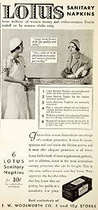 1931 Ad Lotus Sanitary Napkins Feminine Hygiene Products Woolworth Menstrual - Original Print Ad