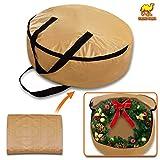Strong Camel Heavy Duty Christmas Wreath Storage Bag For 24-Inch Wreaths (Tan, 7.1''x dia. 24'')