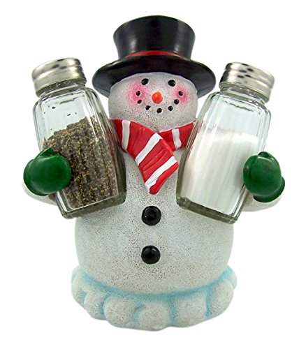Snowman Christmas Holiday Salt and Pepper Shaker Holder With Shakers -