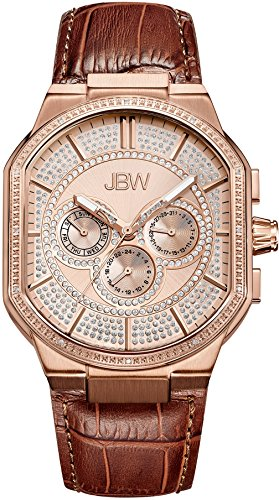 - JBW Luxury Men's Orion 0.12 Carat Diamond Wrist Watch with Leather Bracelet