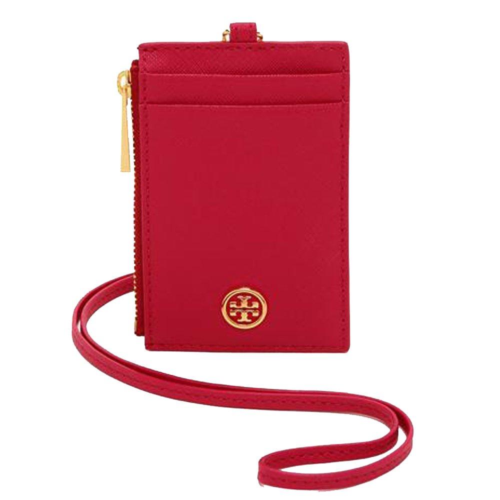 Tory Burch Robinson Lanyard Slim Card Case ID Leather TB Logo Travel Chain (Kir Royale) by Tory Burch