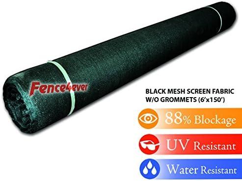 Fence4ever 6 x 150 Black Sunscreen Shade Fabric Roll 90 Uv Block
