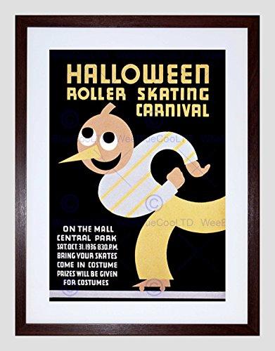 Sport Roller Skating Halloween Chicago USA Vintage Framed Art Print B12X2828]()