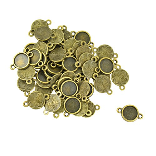 MonkeyJack 50Pcs Alloy Double Holes Connector Round Cabochon Pendant Setting Blank for Jewelrys DIY Crafts Photo Glass Blank - 10mm 10mm Round Cabochon Pendant