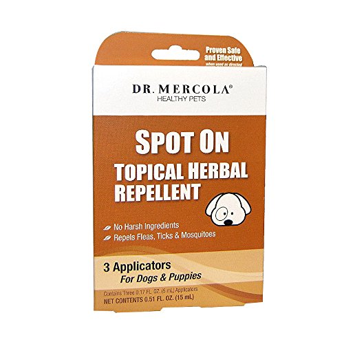 Dr. Mercola Spot On Topical Herbal Flea & Tick Repellent for Dogs - 3 Applicators (3 month supply) - 100% Natural Formula with Geraniol - Safe for Humans & Animals (Flea Spot)