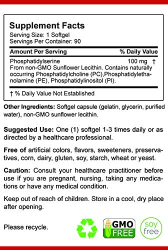 Phosphatidylserine Soy-Free 100mg, 90 Count, Patented Sharp-PS Formula, Phosphatidylserine Complex from Sunflower Lecithin, Natural Brain Booster for Memory and Focus, Soy-Free, Allergen-Free, Non-GMO by Natural BioScience (Image #2)