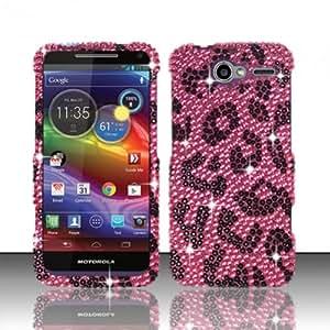 For Motorola Electrify M XT901 (US Cellular) Full Diamond Design Cover - Pink Leopard FPD