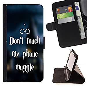 - Don't Touch My Phone - - Premium PU Leather Wallet Case with Card Slots, Cash Detachable Wrist Strap FOR Samsung Galaxy S3 III I9300 Funny House