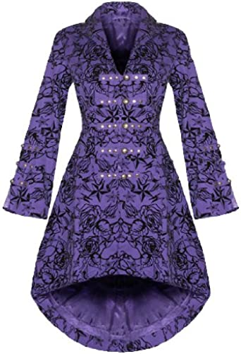 Ladies Purple Velvet Tail Coat Victorian Flock Steampunk
