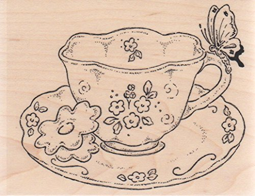 Butterfly Teacup Wood Mounted Rubber Stamp