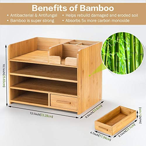 Bamboo Desktop Organizer | Home Office Bamboo Desk Drawer Organizer – 4 Tier Durable Wood Table Top Storage for Pencils, Notepads, Documents & Office Supplies 51kmDuz47oL