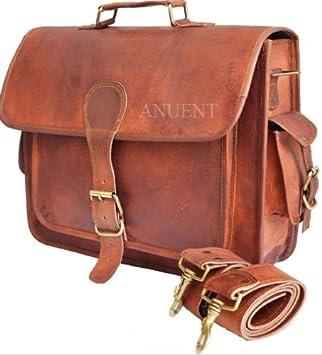 """Thick Camel Leather Office Briefcase 17/"""" Laptop Satchel Messenger Shoulder Bag"""
