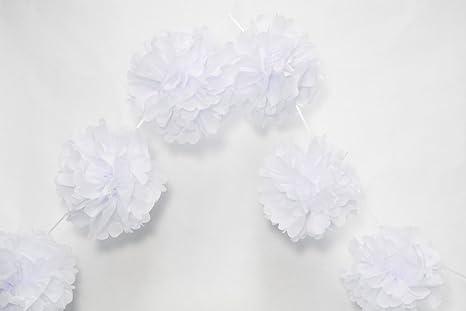 Amazon Quasimoon 6 White Hanging Tissue Paper Flower Pom Pom