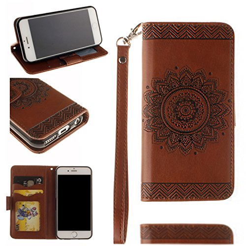 Black Sales Friday Cyber Sales Monday-Valentoria for iPhone 6Plus Wallet Case,Valentoria Mandragora Flower Premium Vintage Emboss Leather Wallet Pouch Case with Wrist Strap for iPhone 6Plus (Brown)