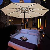 13-Foot Outdoor Patio Aluminum Umbrella with Solar LED Lights Beige For Sale