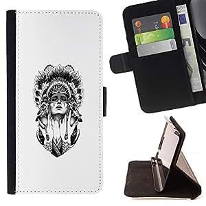 Momo Phone Case / Flip Funda de Cuero Case Cover - Mujer del nativo americano;;;;;;;; - Samsung Galaxy A5 ( A5000 ) 2014 Version