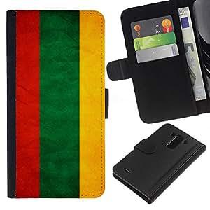 EJOY---La carpeta del tirón la caja de cuero de alta calidad de la PU Caso protector / LG G3 / --Nacional bandera de la nación País Lituania