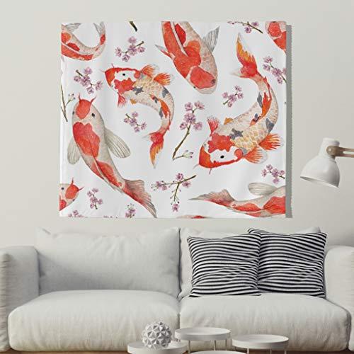 IuMate Koi Fish Tapiz para Colgar en la Pared, Arte japonés, Tapiz de Pared, Toalla de Playa, Mantel para Sala de Estar o...