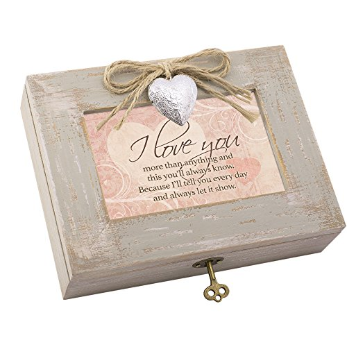 I Love You More Natural Taupe Wood Locket Box Music Box Plays Wind Beneath My (Locket Crucifix)