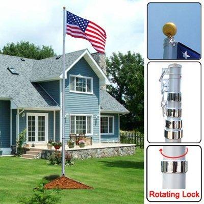 XtremepowerUS In-Ground United States Of America USA Flag Kit W/ 25FT Aluminum Pole