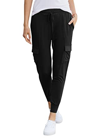 4d00a43525 chimikeey Womens Stretch Jogger Sweatpants Drawstring Slim Fit Sport Pants  with Pockets at Amazon Women's Clothing store: