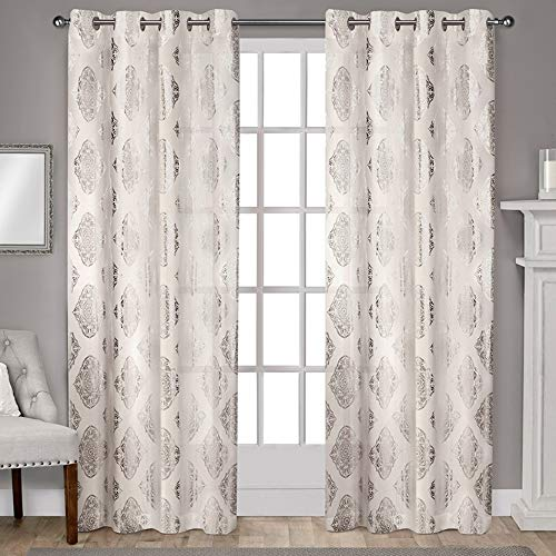 (Exclusive Home Curtains Augustus Metallic Light Filtering Grommet Top Curtain Panel Pair, 54x84, Off-White, 2 Panels)
