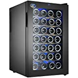 Electro Boss | 28 Bottle Thermoelectic Wine Cooler | Black | Beverage Refrigerator | Reversible Door