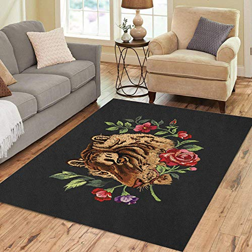 Semtomn Area Rug 2' X 3' Red Floral Tiger Head Flower Embroider Patch Rose Animal Home Decor Collection Floor Rugs Carpet for Living Room Bedroom Dining Room ()