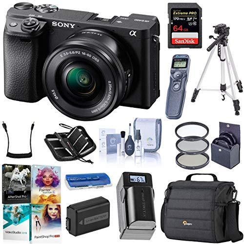 Sony Alpha a6400 24.2MP Mirrorless Digital Camera with 16-50mm f/3.5-5.6 OSS Lens, Bundle with Bag, Intervalometer…