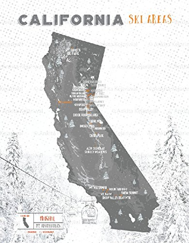 Amazon Com Ca Ski Resorts Map California State 8x10 Inches Print