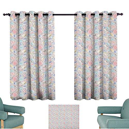 Diamonds,Grommet Window Panels Pastel Color Baguette Square and Oval Shapes Feminine Design Star Filled Backdrop 52