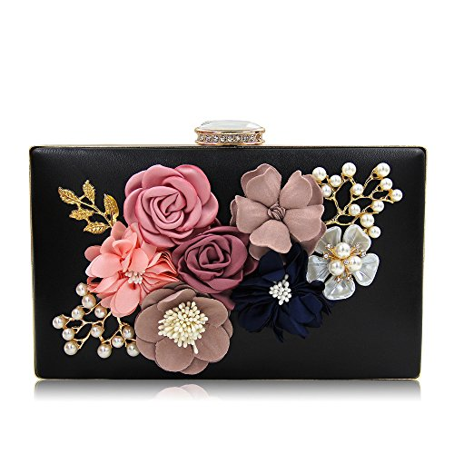 Black Purse Bags Clutch Evening Clutches Flower Handbags Wedding NBWE Women vwWz8SHTSa