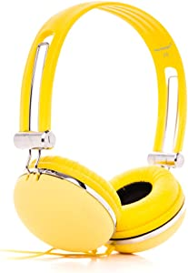 RockPapa Over Ear Stereo Wired Adults Kids Childs Boys Girls Headphones Earphones Adjustable for iPhone 6 iPad iPod innoTab LeapPad PC DVD CD Yellow