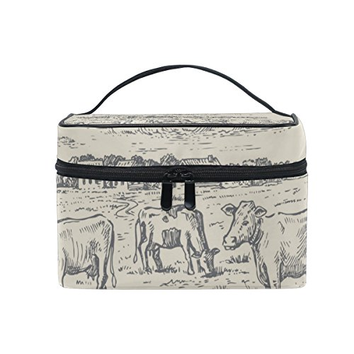 Cooper girl Hand Drawn Vintage Cow Field Cosmetic Bag Travel Makeup Train Cases Storage Organizer