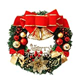 iumei Christmas Wreath Garland Merry Christmas Party Poinsettia Pine Wreath Door Wall Garland Decoration