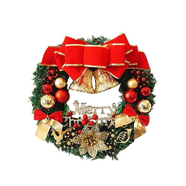 Transer- Poinsettia Pine Fall Front Door Wreath, 12 Inches Decorative Leaves & Flowers, Merry Christmas Party Door Wall Garland Decoration (Multicolor)